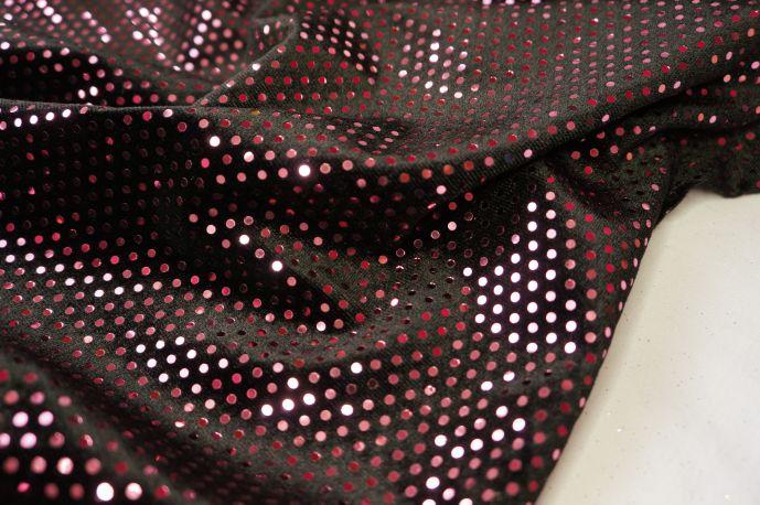 Бархат черный с розовыми пайетками