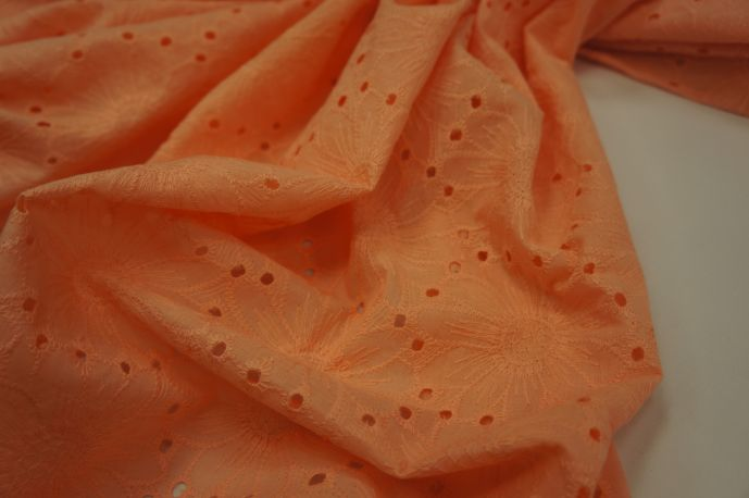 Хлопок шитье цветы персиковые