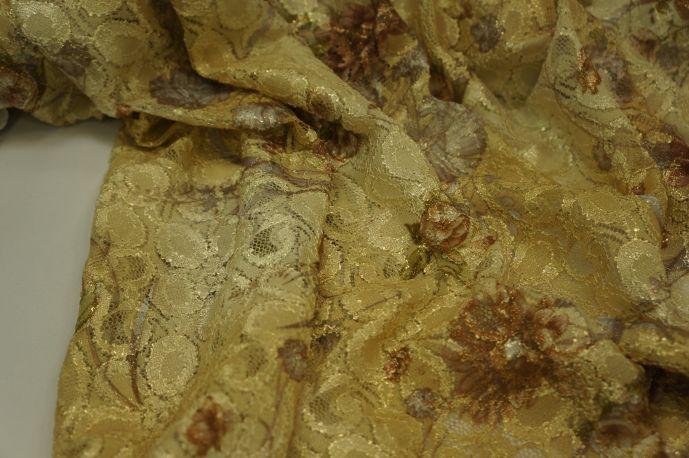 Кружево золотистое с рисунком