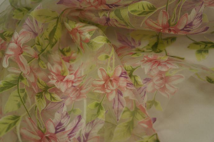 Органза цветок розово-зеленый