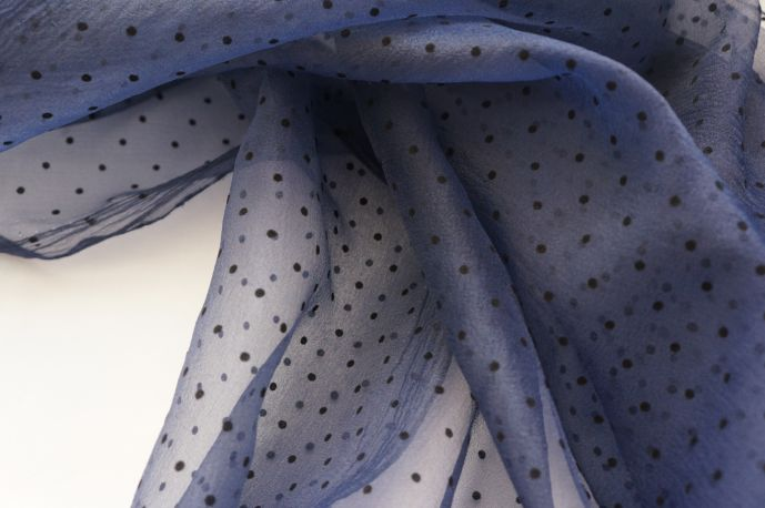Органза флок синий