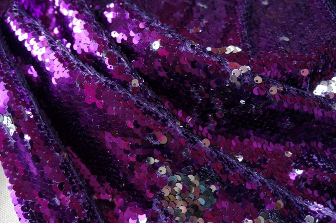 Пайетки фиолет серебро 56
