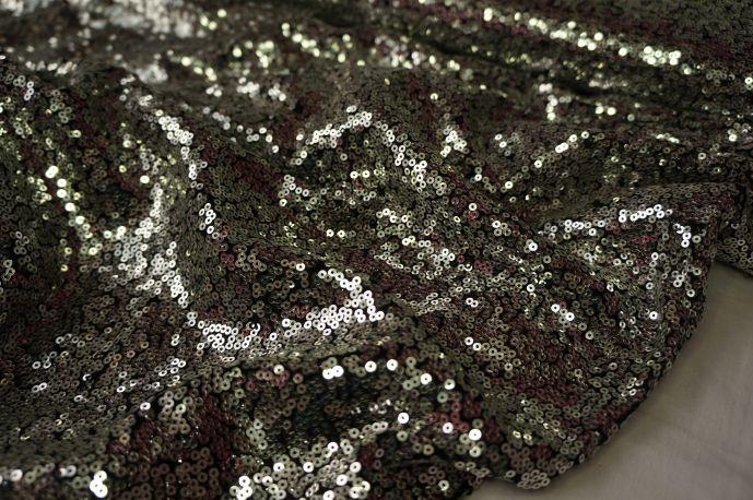 Пайетки серебро на черной сетке 20-31