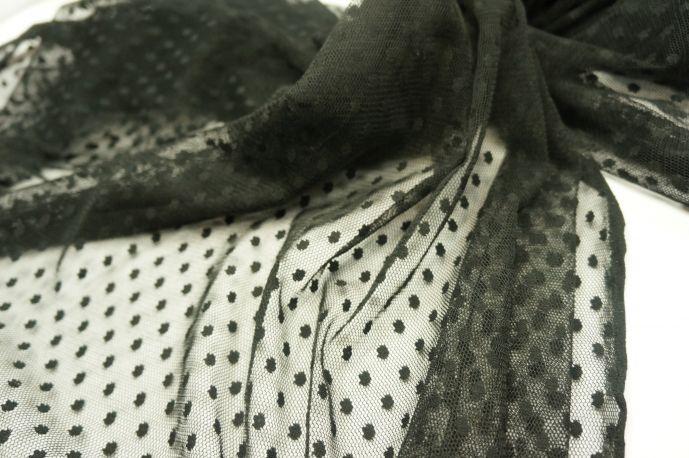 Сетка флок черный узор 1