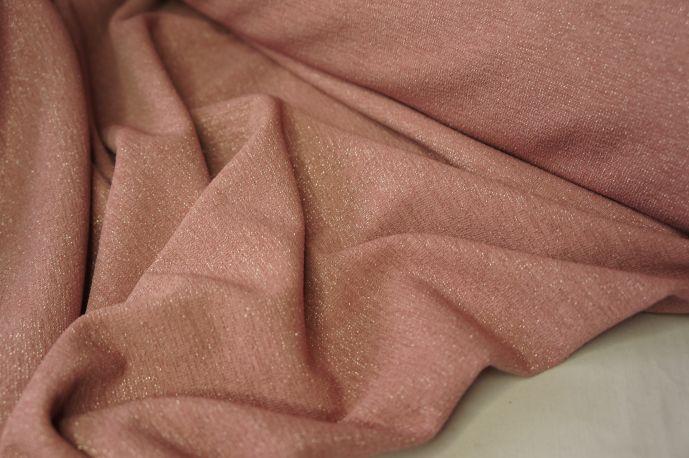 Трикотаж с люрексом розовая пудра
