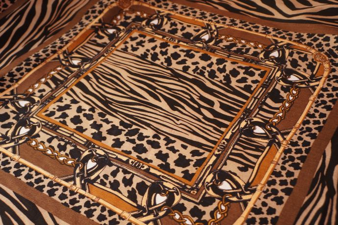 Вискоза рисунок платок коричневый