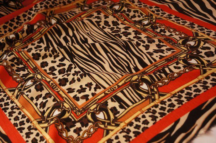 Вискоза рисунок платок оранжевый