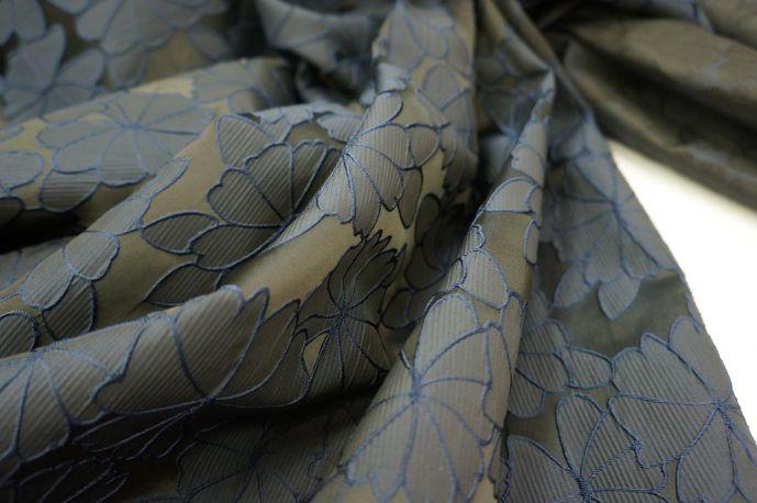 Жаккард атласный синий
