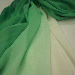 цветной шифон омбре зеленый