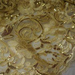 гипюр золотой и с золотистыми пайетками 189