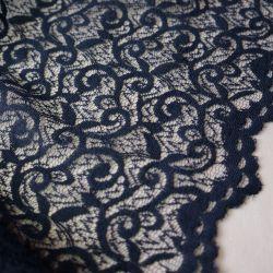 гипюр кружевной темно синий