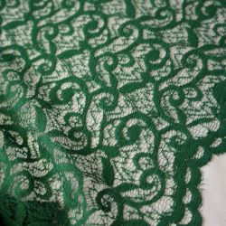Гипюр кружевной темно-зеленый