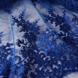 Гипюр на нежнейшей сетке синий