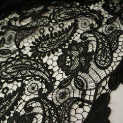 Гипюр шитье крупные цветы черный