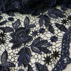 Гипюр шитье крупные цветы синий