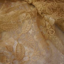 Гипюр золотистый с вышивкой и пайетками 20-1