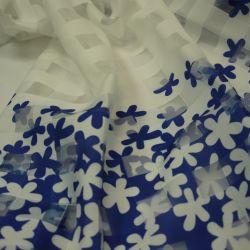 Органза клетка цветы синяя