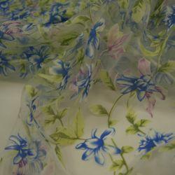 Органза синий цветок