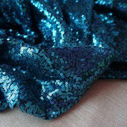 Пайетки синие на черной сетке 20-8