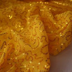 Сетка с пайетками желтая 12