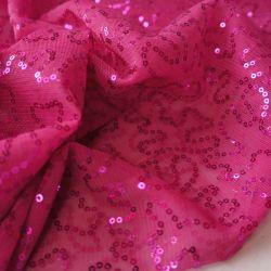 Сетка с пайетками розовая 7