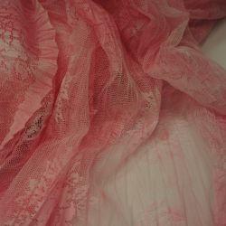 Сетка трикотажная с эффектом гофре розовая