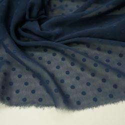 Шифон горох однотонный синий