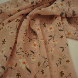 Шифон нежно-розовый цветы 2021-1