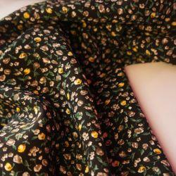 Штапель мелкие цветы черные