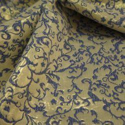 Жаккард золотистый с синим рисунком